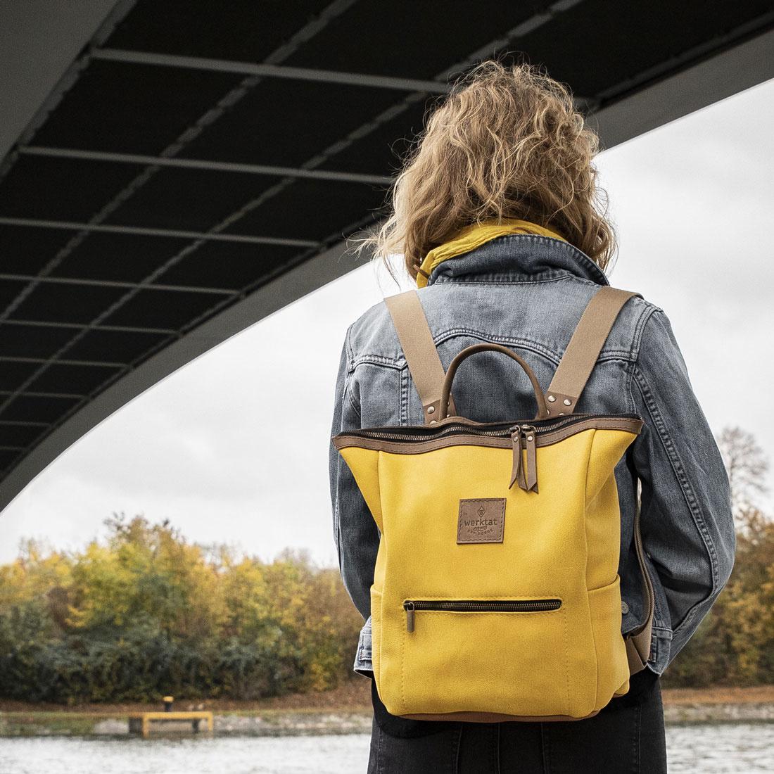 """Leder Rucksack für Damen """"HukkePakk"""", mais-gelb - Leder & Filz Taschen  Hüllen Filzuntersetzer Filzzuschnitt Sitzauflagen Tischsets"""