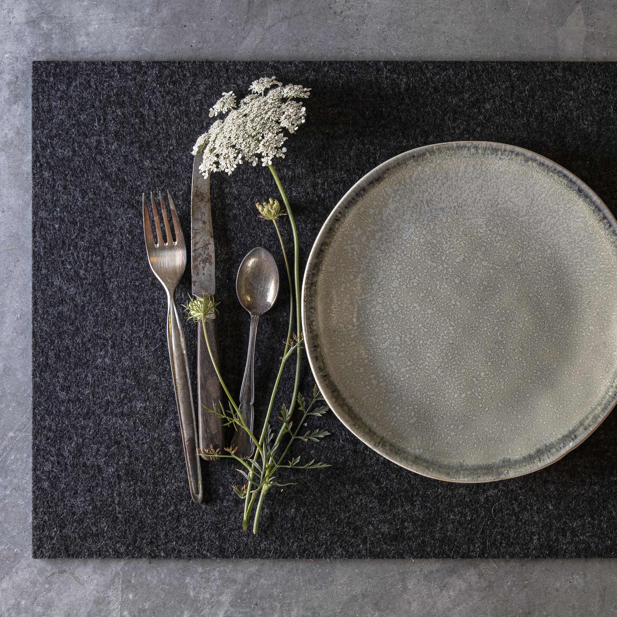 Filz Tischsets rechteckig anthrazit meliert