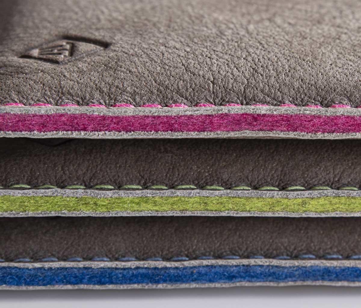 iPhone 13 12 11 Pro Max mini SE leather case with colorful felt lining SCHUTZPATRON