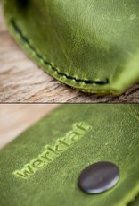 leather glasses case, green