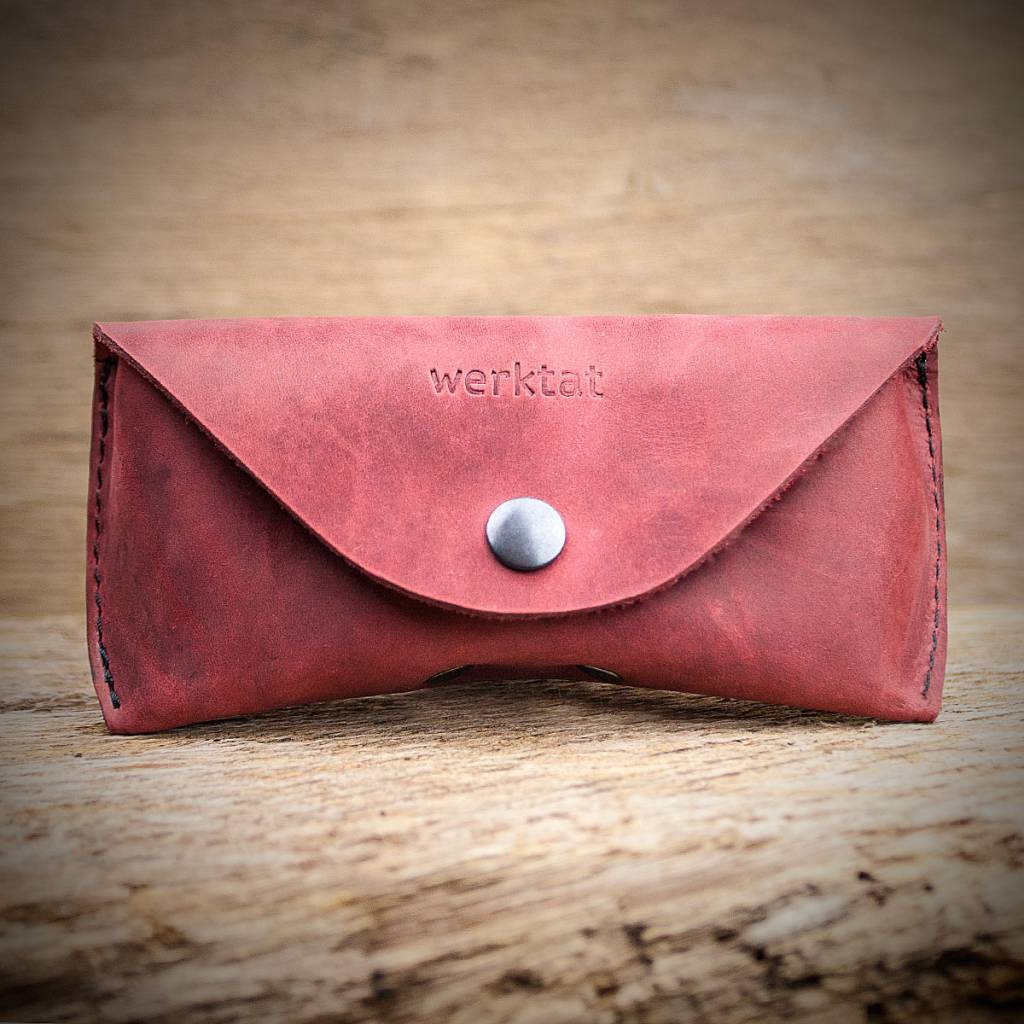leather glasses case red