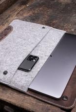 """MacBook Pro 13"""" Leder Filz Hülle  – Einzelstück in braun / hell grau meliert"""
