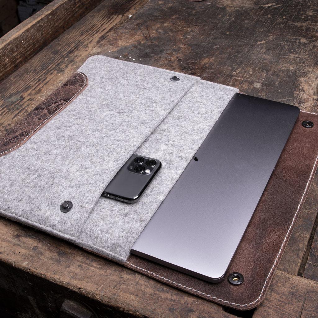 """MacBook Pro Air 13"""" leather felt case – unique pieces"""