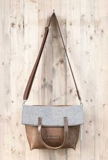 crossbody bag, brown leather and felt, messenger bag Charakterstück WT0814