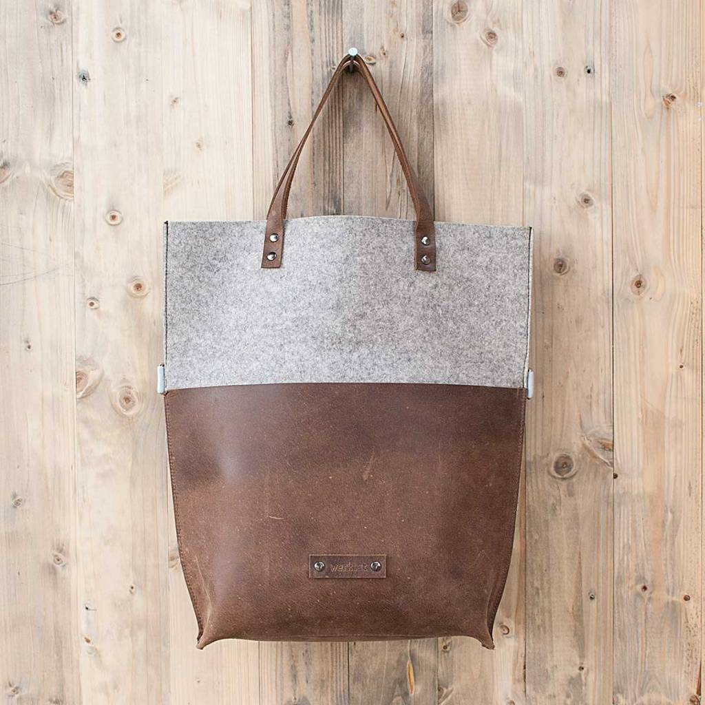Shoulder bag, brown leather and felt CHARAKTERSTÜCK for women