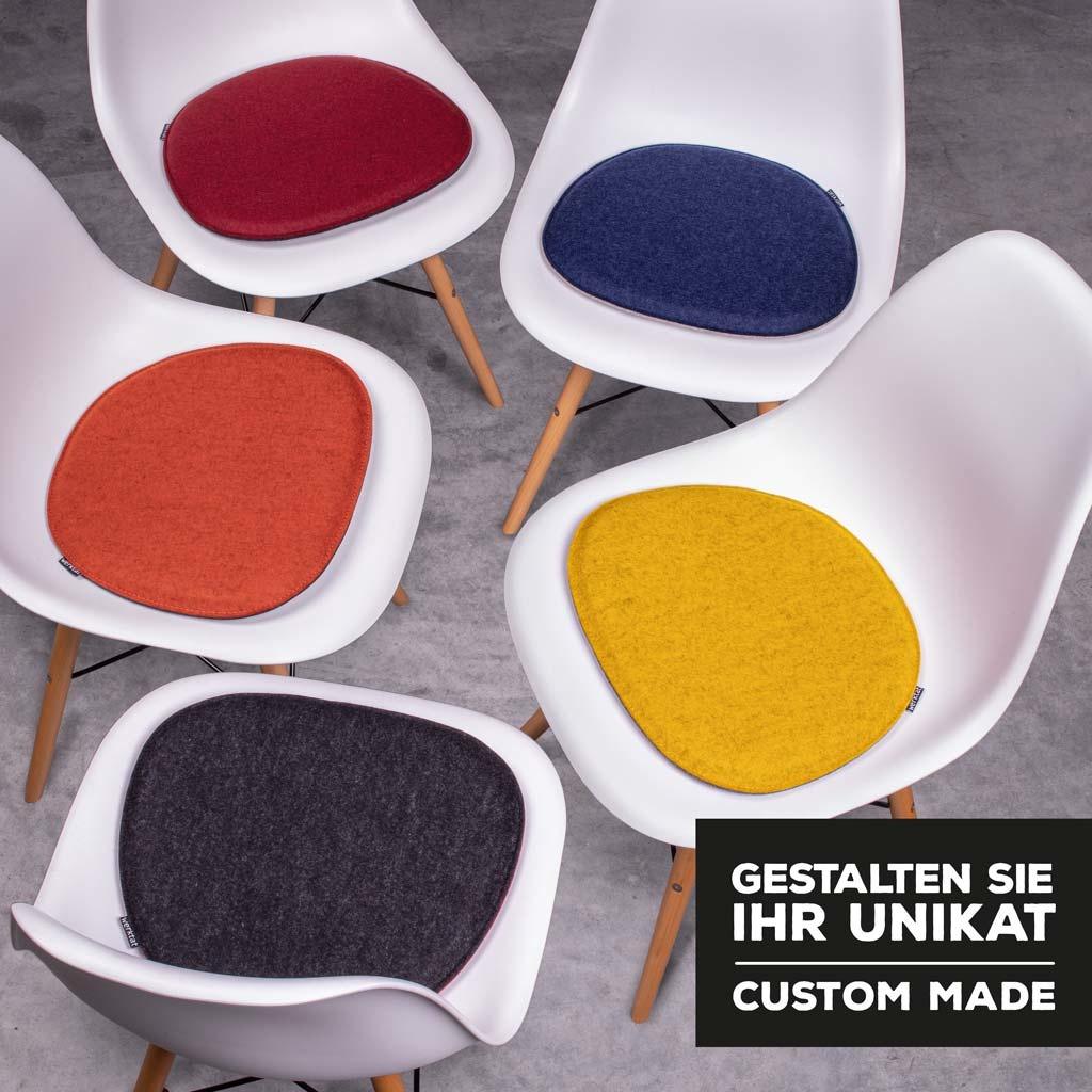 Filz Sitzkissen für Eames Plastic Chair / Armchair selbst kombinieren (gepolstert)