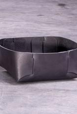 Leder Korb, Körbchen schwarz zur Aufbewahrung