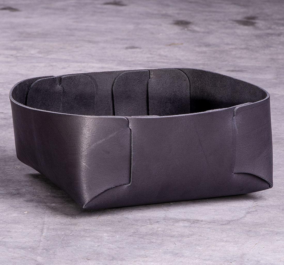 leather basket black for storage