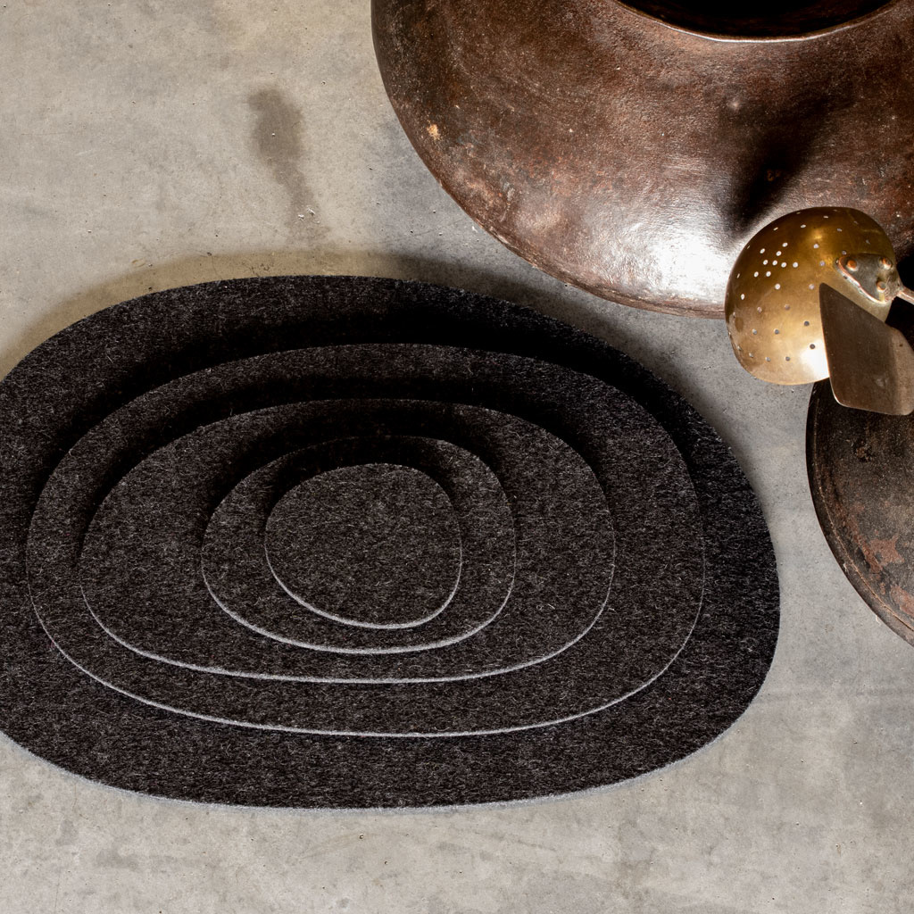 felt coaster, placemat, small table cover or trivet anthracite mixed – KIESEL