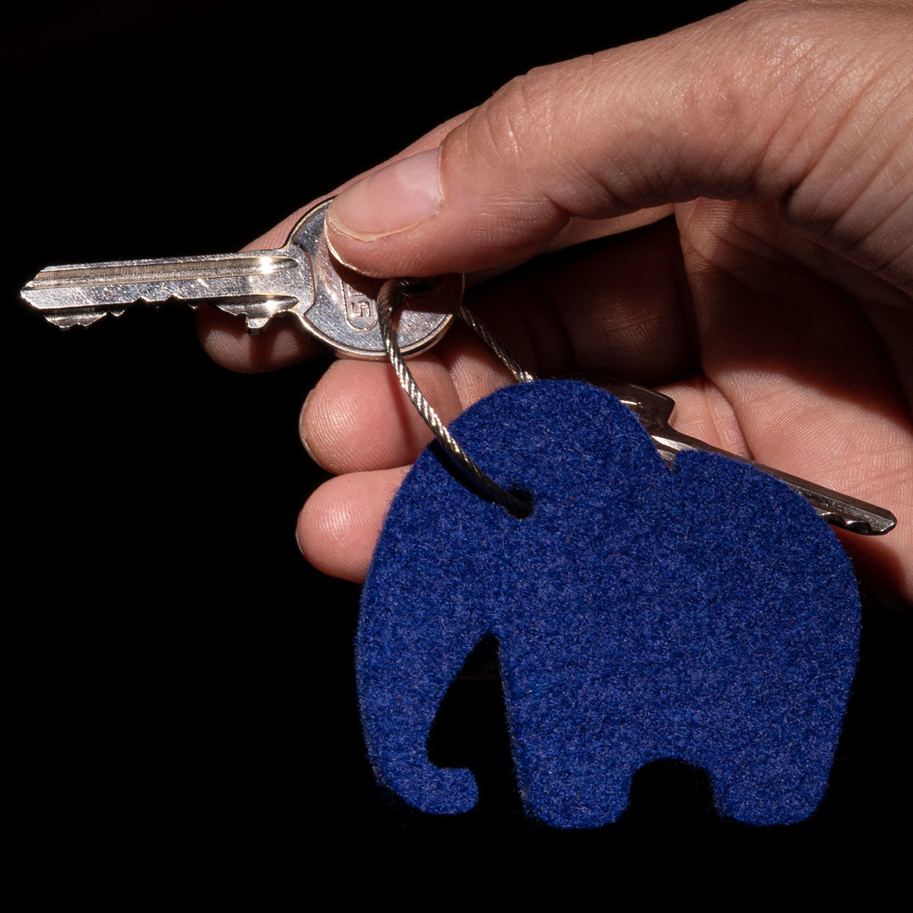 felt keychain elephant in blue, red, gray, yellow or green