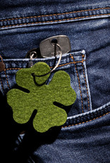 felt key chain four-leafed clover, grass green mixed, steel rope with screw cap, lucky clover, New Year's Eve