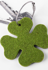 felt key chain four-leafed clover green steel, lucky clover, small New Year's Eve gift