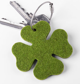 felt key chain four-leafed clover, grass green mixed, steel rope with screw cap, lucky clover