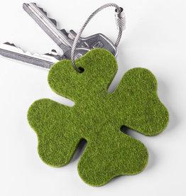 Glücksklee Filz Schlüsselanhänger, vierblättriges Kleeblatt grün
