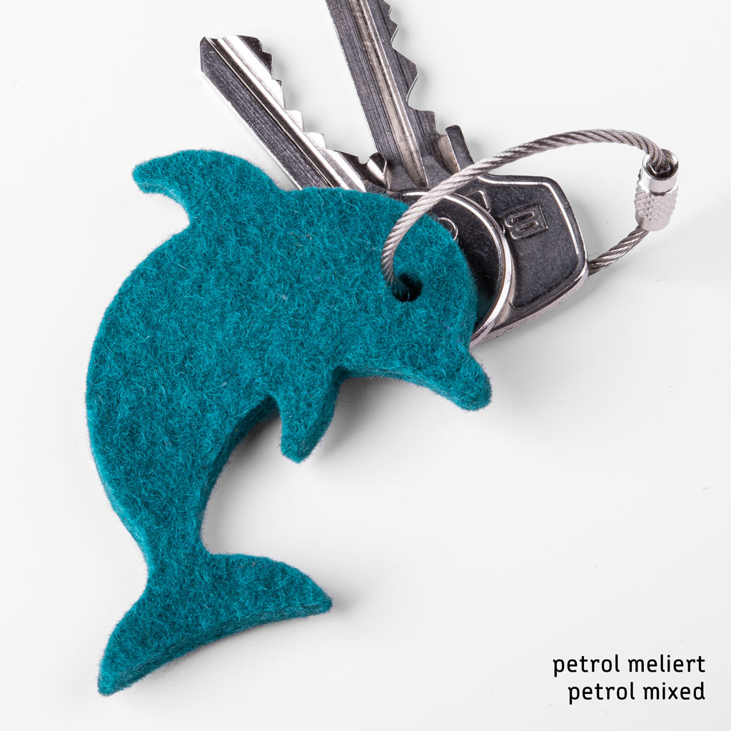 felt keychain dolphin
