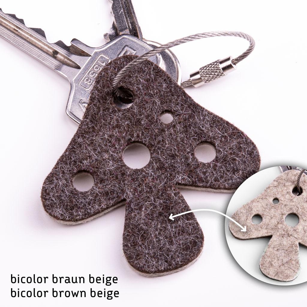 Filz Schlüsselanhänger Glückspilz / Pilz / Fliegenpilz