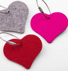felt keychain heart, 100% virgin wool