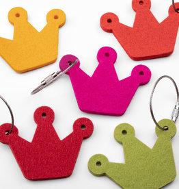felt key chain crown, coronet, 100% virgin wool