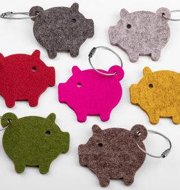 lucky little pig, piggy felt keychain 100% virgin wool, 5 mm thick