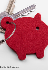 felt keychain lucky little pig, piggy in gray, red, pink (magenta), green or yellow
