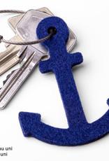 Filz Schlüsselanhänger Anker in blau, grün, rot pink (magenta), grau oder gelb