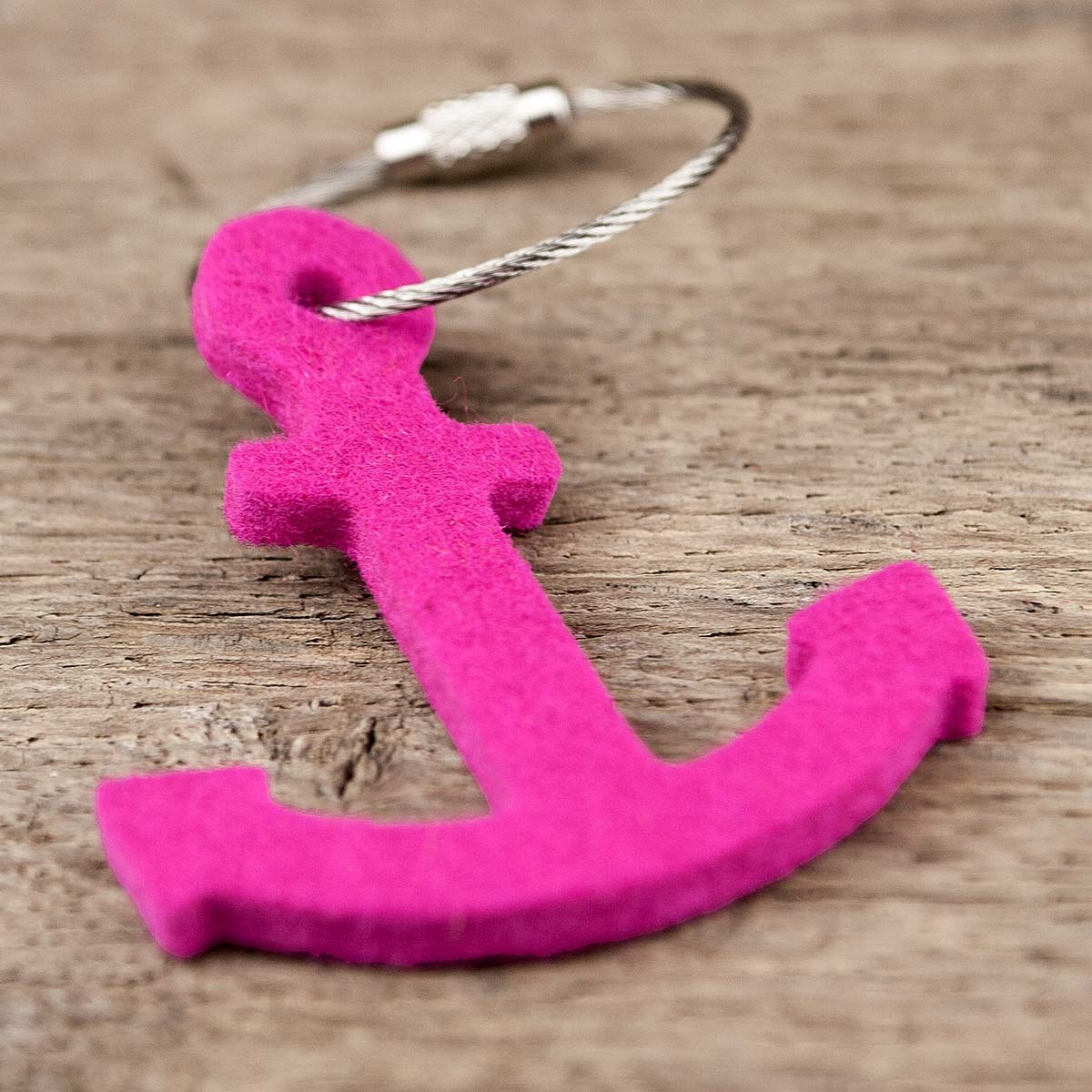 felt keychain anchor in blue, green, red, pink (magenta), gray or yellow