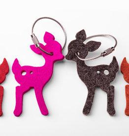 Filz Schlüsselanhänger Bambi, Reh aus 100% Schurwolle, 5 mm dick