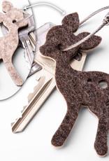 Felt keychain bambi, little deer in brown, orange, pink (magenta) or gray