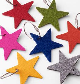 Felt keychain star, starlet - 100% virgin wool - 5 mm thick