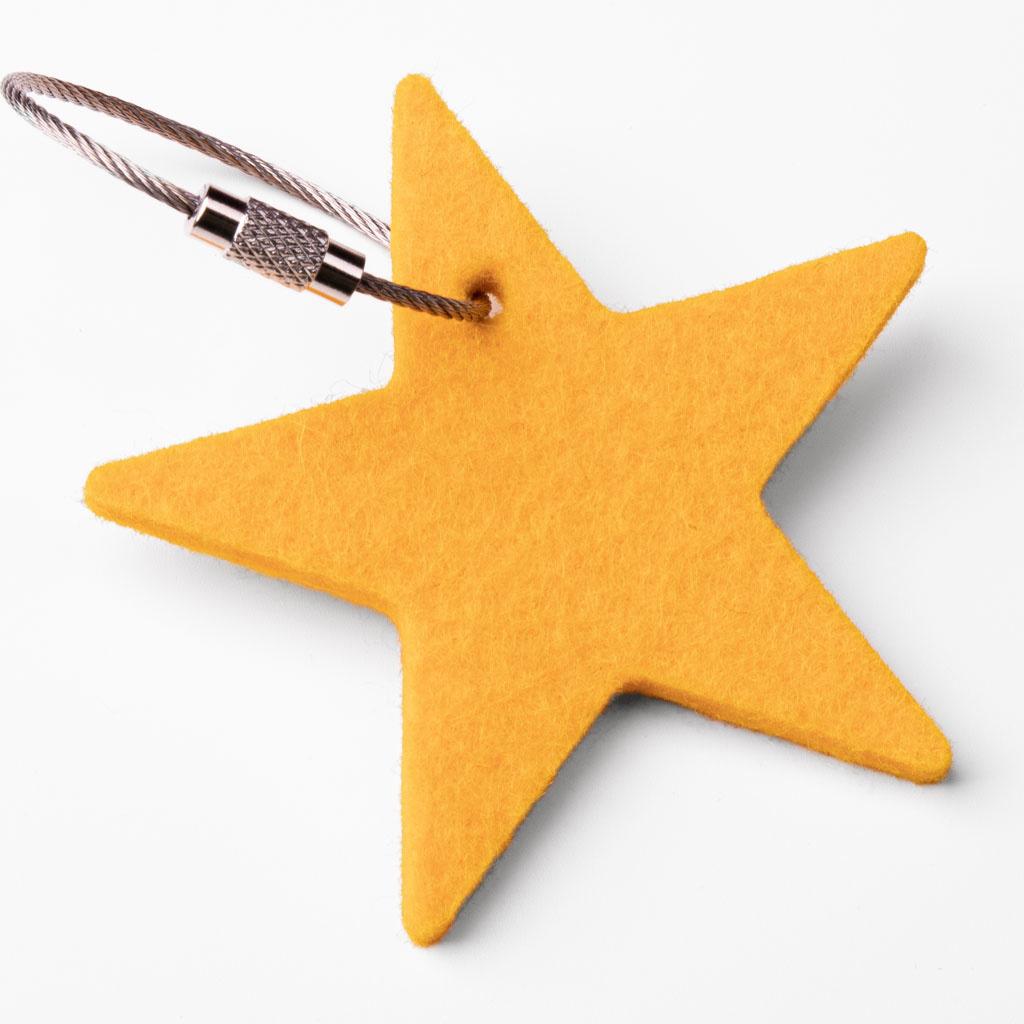 Filz Schlüsselanhänger Stern, Sternchen gelb, rot, orange, grün, blau, grau oder pink (magenta)