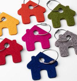 felt keychain house, 100% virgin wool, 5mm thick