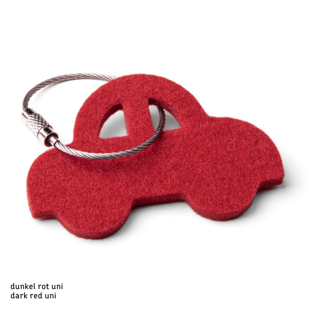 Filz Schlüsselanhänger Auto in grau, rot, orange, pink (magenta), blau, gelb oder grün