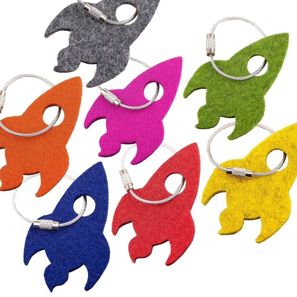 felt key chain rocket in blue, red, gray, green, yellow, orange or pink (magenta)
