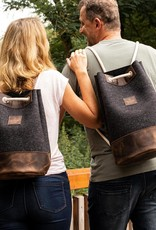 """gym/sports bag, backpack, small duffle bag from felt anthracite and leather """"chocolate"""" MEERWERK for her and him"""