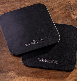 Lederuntersetzer quadratisch abgerundet schwarz vegetabil gegerbt, 2er Set
