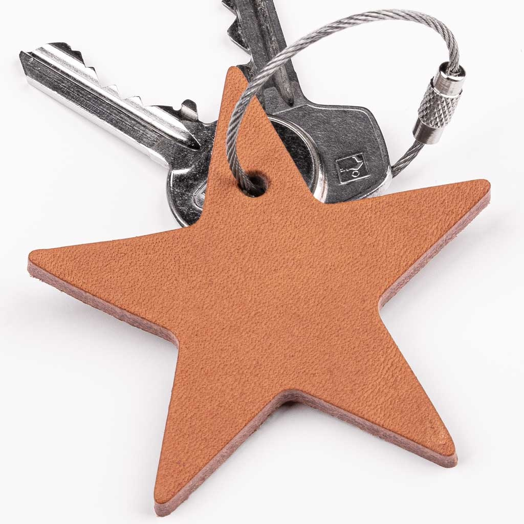 """keychain star, crown, lucky pig, elephant or car from leather """"natural"""""""