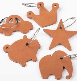 """star, crown, lucky pig, elephant or car as a leather keychain """"natural"""""""