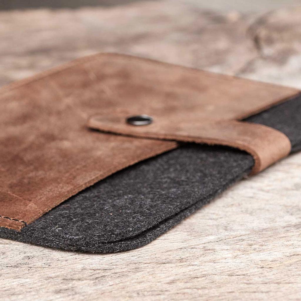 Surface Pro 7, X, Laptop 4, Book / Go 3 Tasche Leder Filz Hülle Ledertasche Filztasche FACHWERK passend gefertigt für Microsoft Surface