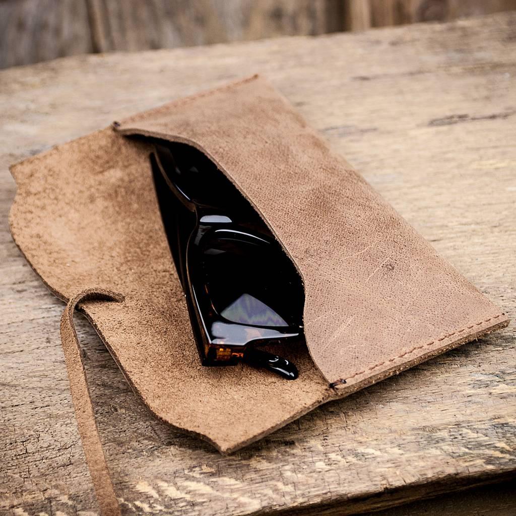 """leather glasses case, brown, """"Werkschutz"""""""