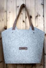 Filz Shopper Tasche Schultertasche mit Leder-Trageriemen