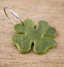 Glücksklee Leder Schlüsselanhänger, grün mit Stahlseil