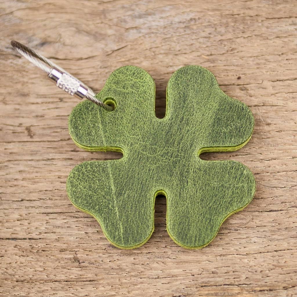 Leder Schlüsselanhänger Glücksklee, grün mit Stahlseil, quadrifoglio verde