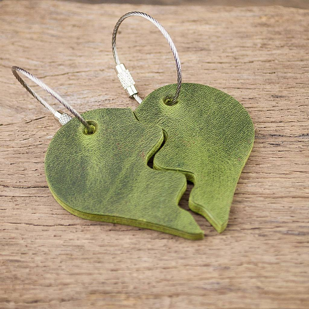 "partner leather key chain heart, green ""One-For-Two"""