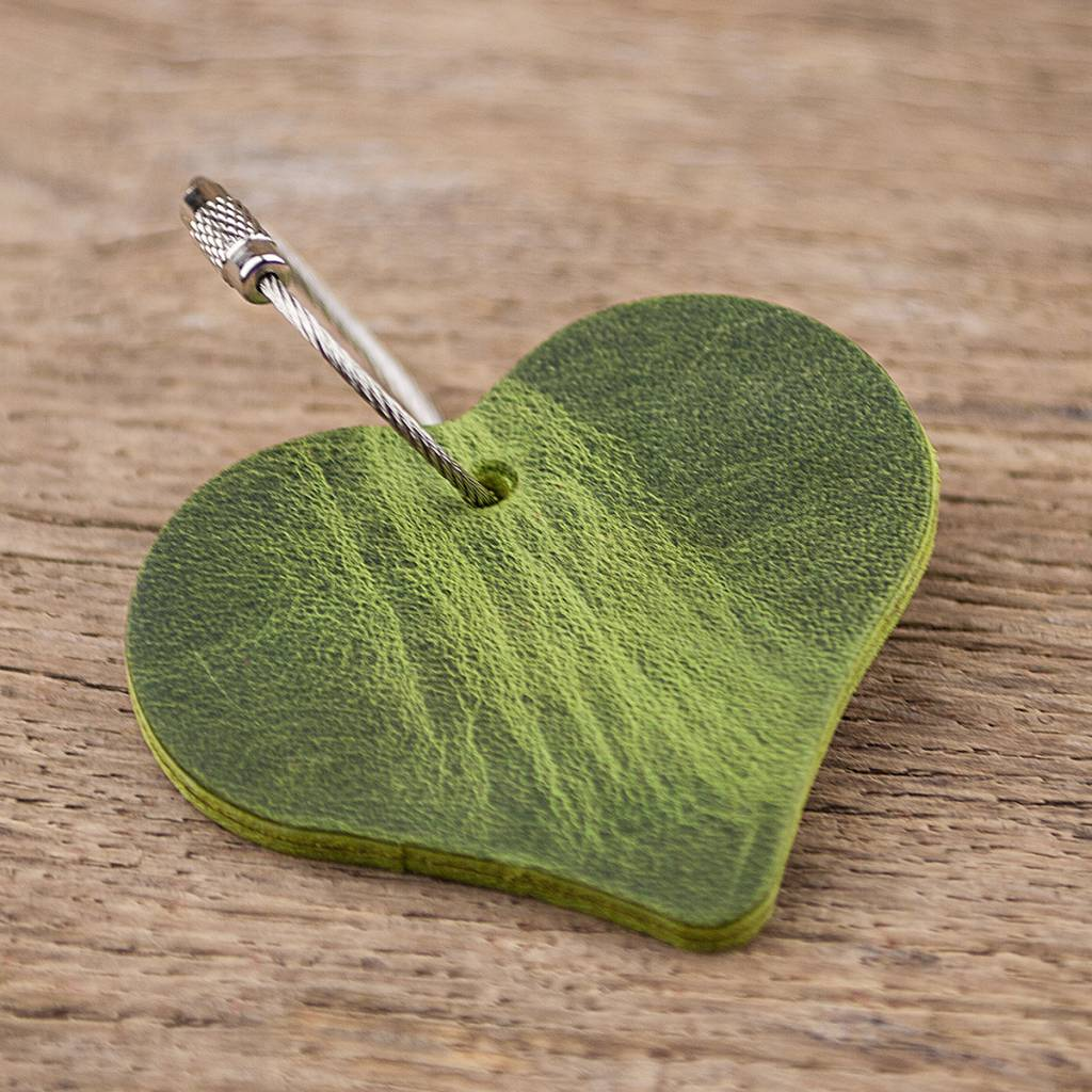 leather keychain heart, green, red, steel rope with screw cap