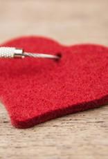 Filz Schlüsselanhänger Herz in rot, grau, natur oder pink (magenta)