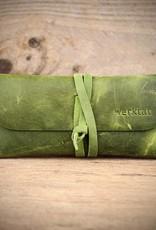 leather glasses case, green, Werkschutz