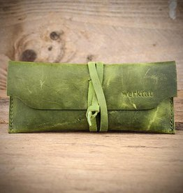 """Werkschutz"" leather glasses case in green, eyeglasses"