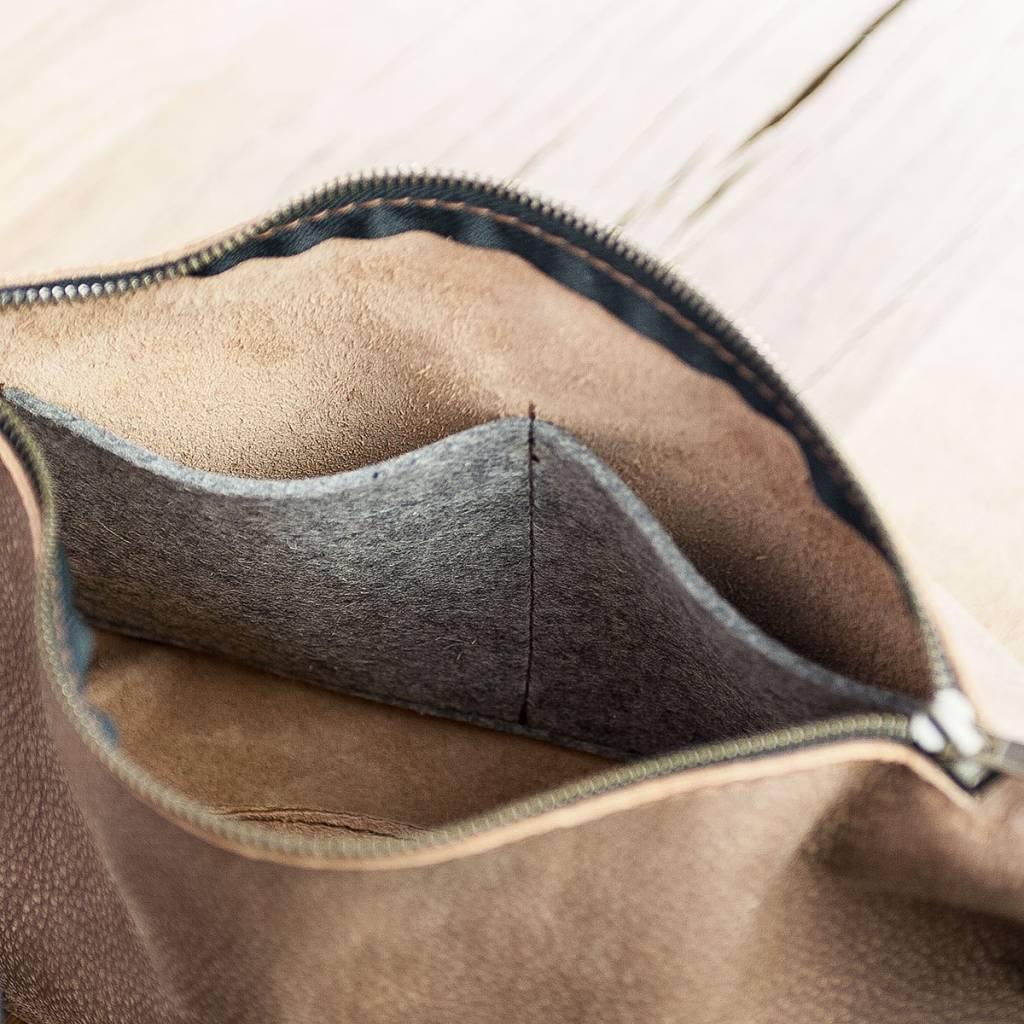 Umhängetasche, Hobo Bag aus weichem, knautschigem Büffelleder, Ledertasche Coachella WT0116, braun caramel, Damentasche Handtasche