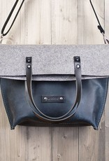 crossbody bag, blue leather and felt, messenger bag Charakterstück WT0814 leather bag