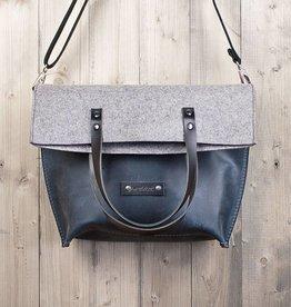 CHARAKTERSTÜCK shoulder bag, blue leather and felt for women